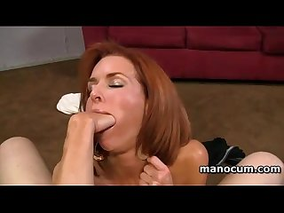 Pov redhead busty hooker giving amazing handjob and blowjob