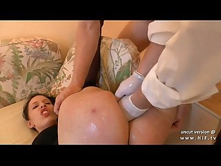 Naughty amateur french brunette hard analyzed n double fist fucked w cum 2 mouth