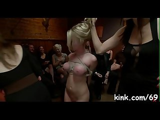 Impure slave girl squirts and fucked hard in bondage.