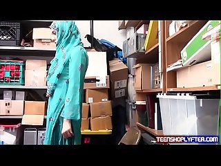 Hot muslim teen shoplyfter caught harassed