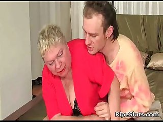 Fat mature blonde gets meaty pussy