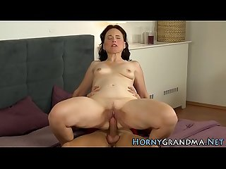 Horny grandmother blows