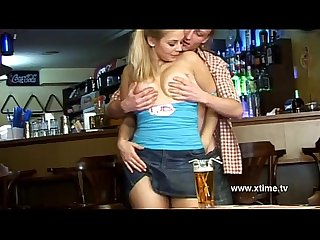 Big tit young girl seduced and banged in a bar