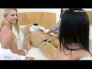 BFFs fucking teddy bear with strap dildo