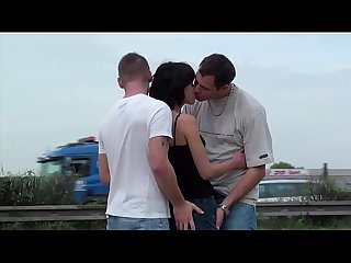 Cum on petite girl s face in public street gang bang orgy threesome with 2 guys