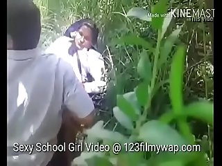 Sexy indian teen school girl sex in jungle by young boy