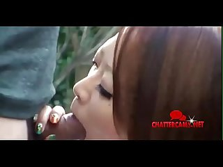 Outdoors japanese asian schoolgirl deepthroat blowjob