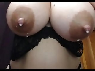 Big boobs pregnant milf with breast milk show