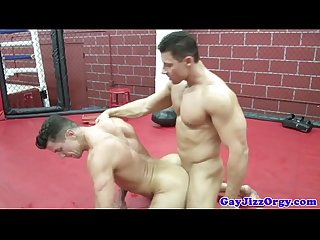 Athletic hunk sucks cock and fucks ass
