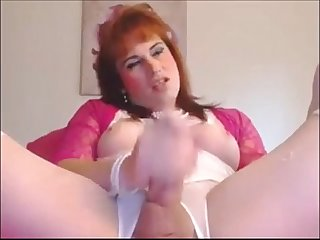 Red haired milf shemale masturbating on cam