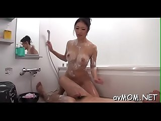 Hot asian mom disrobes and her constricted pussy finger fucked