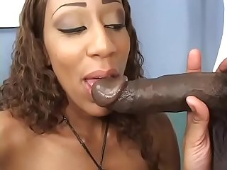 Sexy light skinned ebony whore rides a BBC then gets creampie