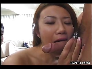 Dazzling asian babe S vagina is toyed with by two guys