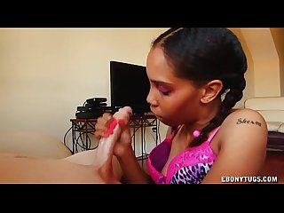Black girl in purple jerking