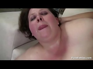 BBW babe with huge tits pounded by a big hard cock in the couch