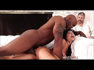 Cute Tiny Teen Latina Cheating Wife Gina Valentina Fucks Husbands Black Friend While He Watches..