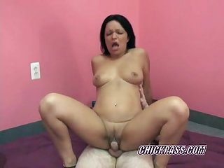 Brunette swinger val pounds a cock in her hot latina twat