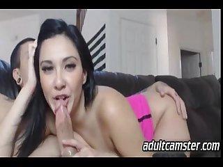 Hot latina Babe sucking on Webcam