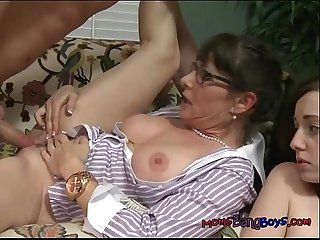 Wild whores get fucked by well hung burglar