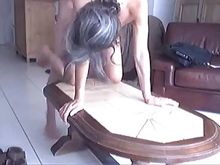 Voyeur slut carill suck fuck boyfriend olivier on table