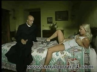 Cute blonde fucks with a monk in castle