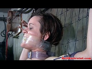 Bonded submissive skank being punished