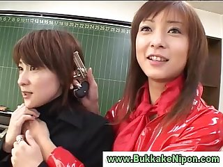 Real amateur Japanese teen gets Bukkake and gives guy a Blowjob