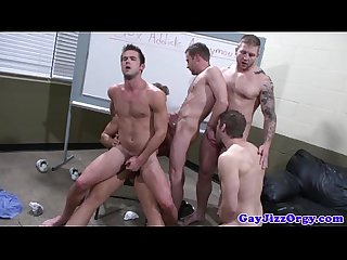 Gaysex hunks enjoying a group fuckfest