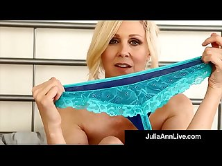 Busty cougar Julia Ann in bras panties stockings for you