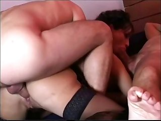 Italian sexy brunette elena del monaco fuck by two guys
