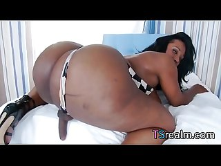 Big And Sexy Black Shemale Gets Herself Off