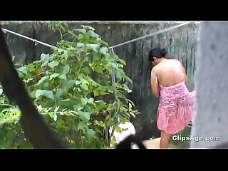 Desi friend's sister bath spy from kitchen