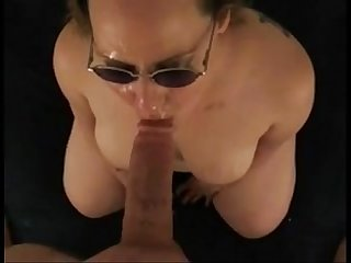 Amateur sucks big cock for a messy facial