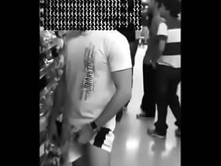 Dude going commando shows his dick in a supermarket