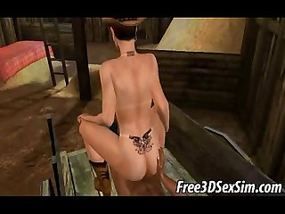 Foxy 3d cartoon cowgirl taking A hard black cock