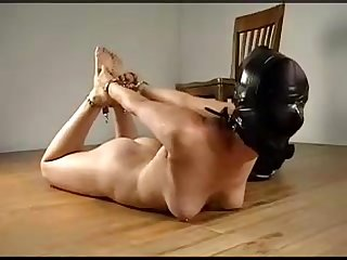 Ballgagged girl gets hooded and Chained hogtied on the ground with no escape