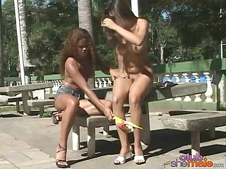 Busty girls and shemale at outdoors