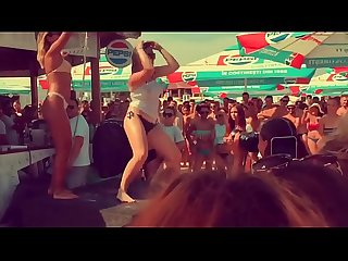 Wet T-shirt contest and striptease on romanian beach