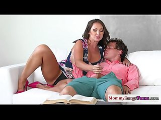 Bigtit stepmom doggystyled while clitrubbing