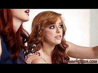 Redhead milf eats teen