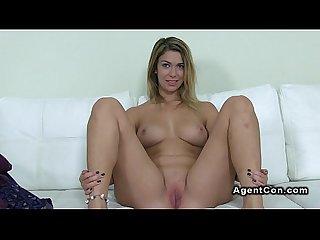 Big booty blonde amateur babe masturbates on casting