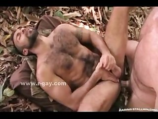 Hairy strong stud in kinky anal sex