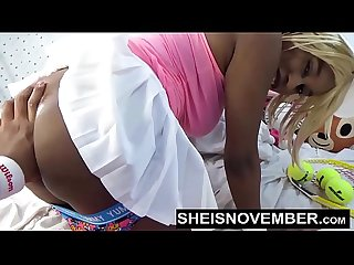Innocent black model msnovember get panties pulled off of her butt then her nasty ebony tiny butthol
