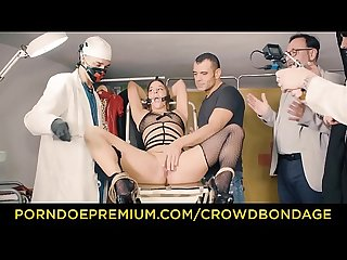 CROWD BONDAGE - Submissive Amirah Adara first time BDSM fuck