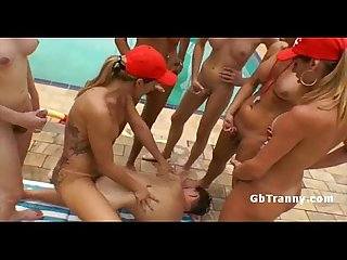 Six shemales ass fuck perv by the Poolside in gangbang
