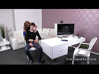 Female agent gets pussy creampie on casting