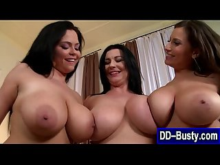 Busty brunette lez in threesome