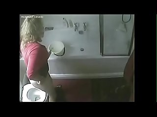 Hidden cam caught my slut mom masturbating in toilet