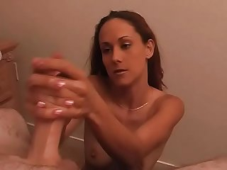 He gets the best Handjob ever from hot chick
