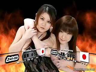 During a Japanese game show two female candidates ha from..